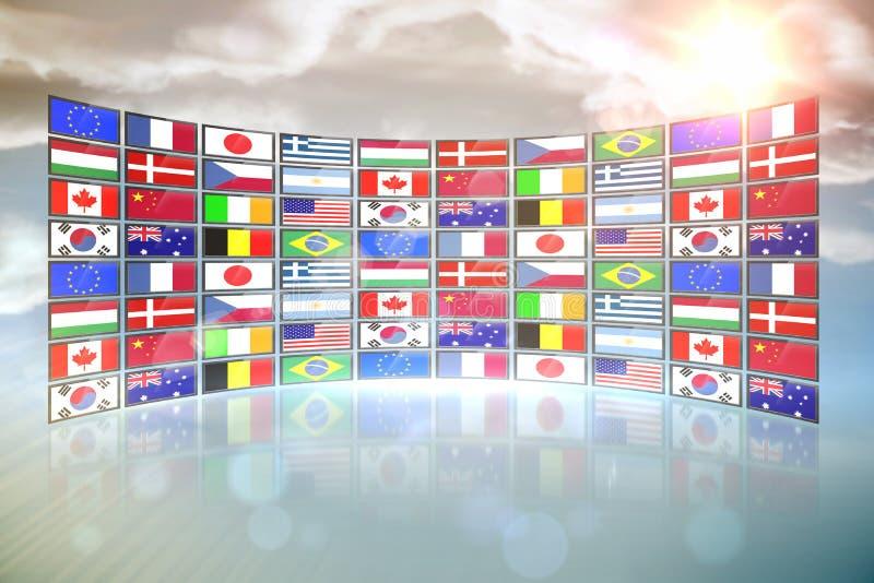 Κολάζ οθόνης που παρουσιάζει διεθνείς σημαίες ελεύθερη απεικόνιση δικαιώματος