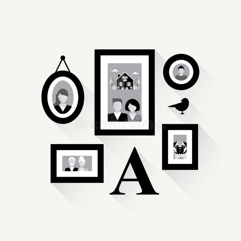 Κολάζ οικογενειακών πλαισίων ελεύθερη απεικόνιση δικαιώματος