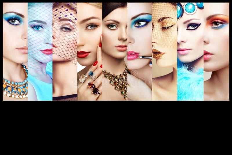 Κολάζ ομορφιάς Πρόσωπα των γυναικών στοκ εικόνα με δικαίωμα ελεύθερης χρήσης