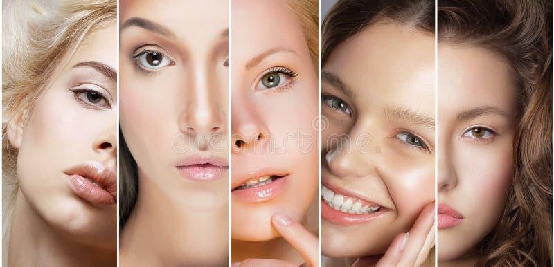Κολάζ ομορφιάς Το σύνολο προσώπων των γυναικών με διαφορετικό αποτελεί στοκ εικόνες