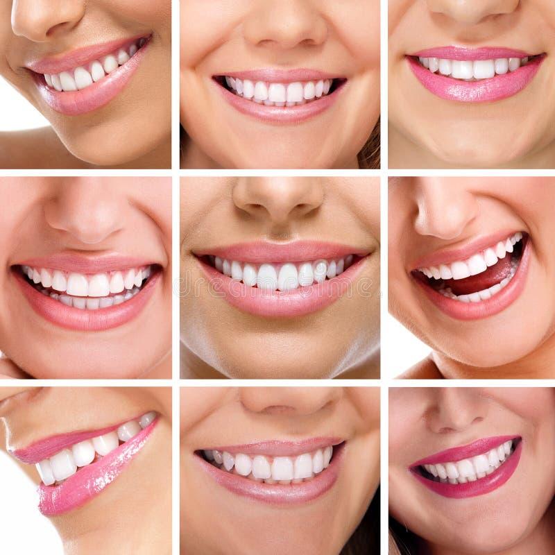 Κολάζ δοντιών των χαμόγελων ανθρώπων στοκ εικόνες