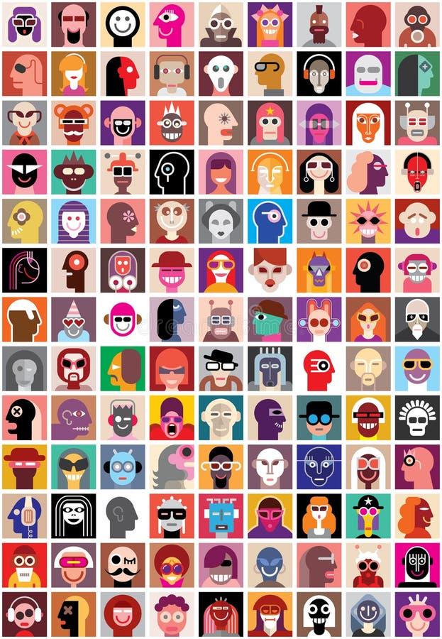 Κολάζ προσώπων ανθρώπων απεικόνιση αποθεμάτων