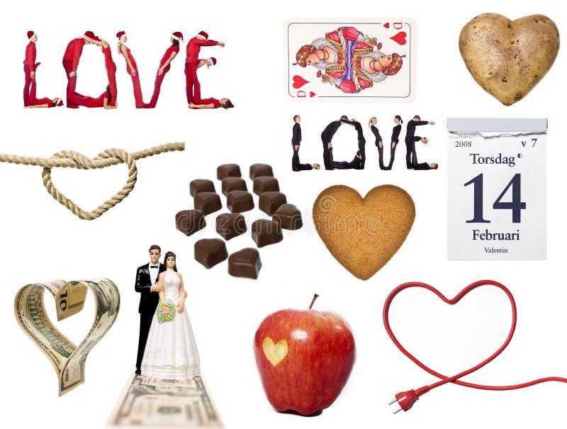 Κολάζ συμβόλων αγάπης στοκ φωτογραφία με δικαίωμα ελεύθερης χρήσης