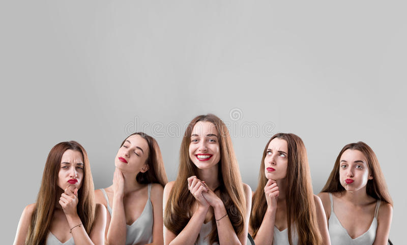 Κολάζ της γυναίκας με τις διαφορετικές εκφράσεις του προσώπου στοκ εικόνες