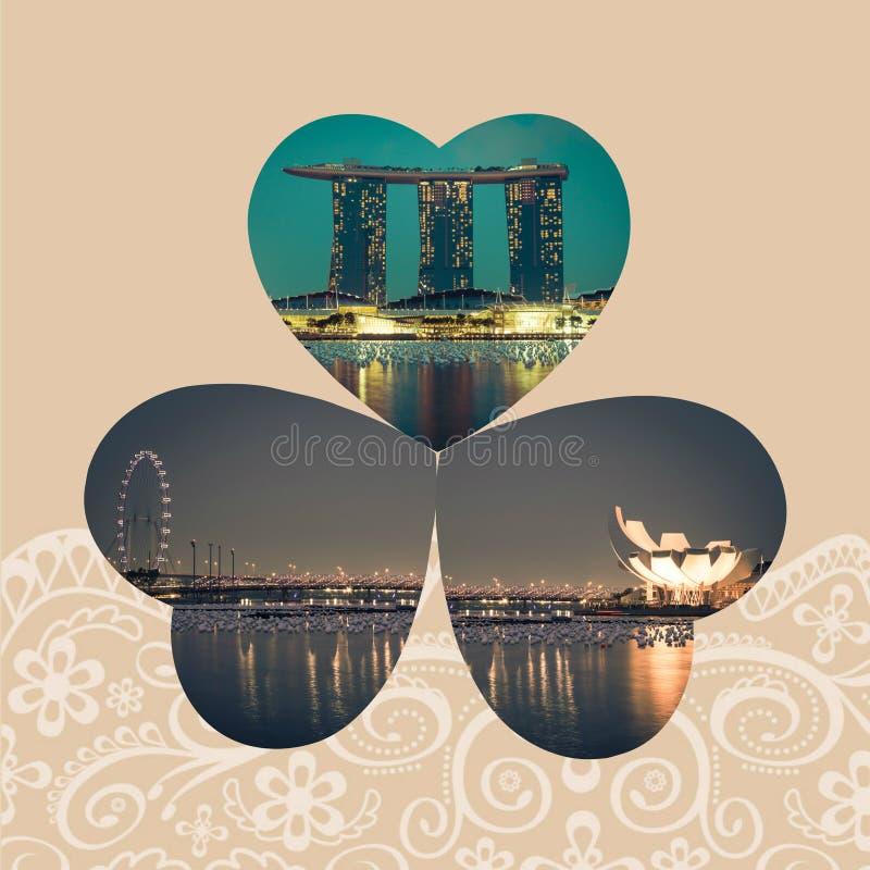 Κολάζ της πόλης της Σιγκαπούρης τη νύχτα στοκ εικόνες