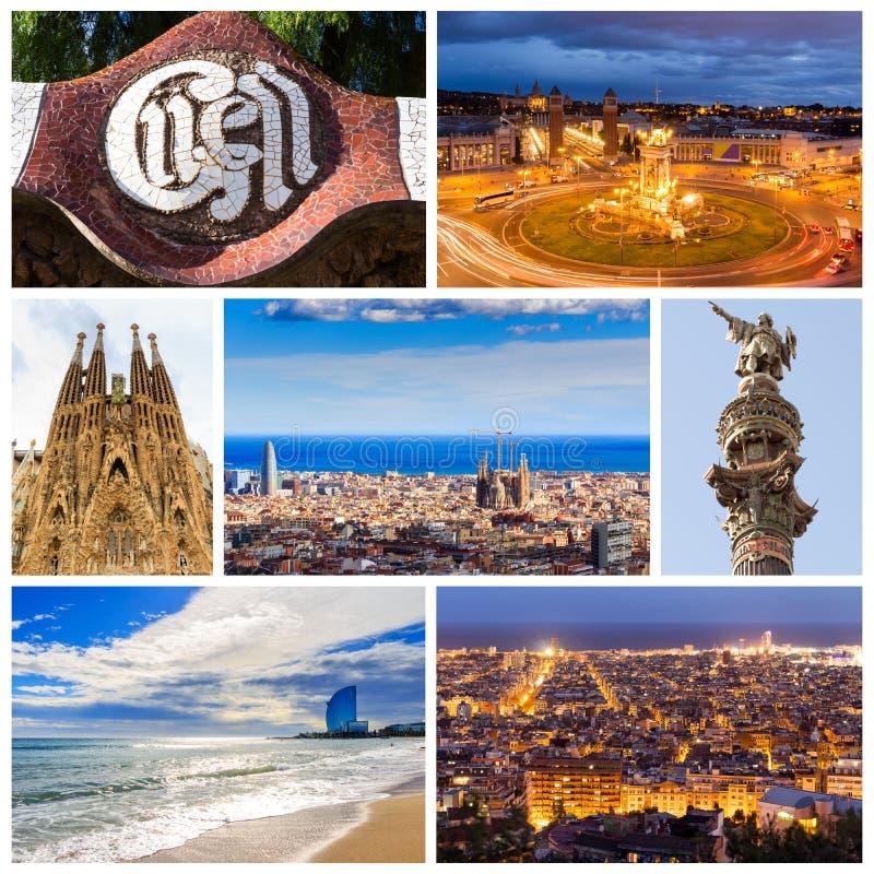 Κολάζ της όμορφης Βαρκελώνης Καταλωνία Ισπανία στοκ φωτογραφία με δικαίωμα ελεύθερης χρήσης