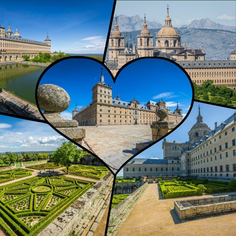 Κολάζ του αρχαίου μοναστηριού στην Ισπανία, Ευρώπη στοκ εικόνες