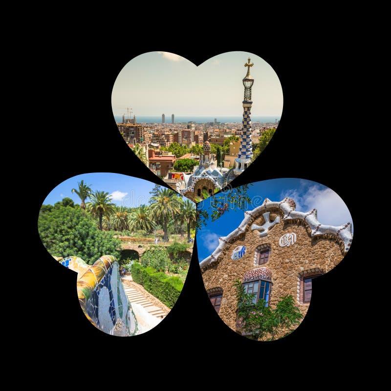 Κολάζ του πάρκου Guell στη Βαρκελώνη, Ισπανία στοκ φωτογραφίες με δικαίωμα ελεύθερης χρήσης