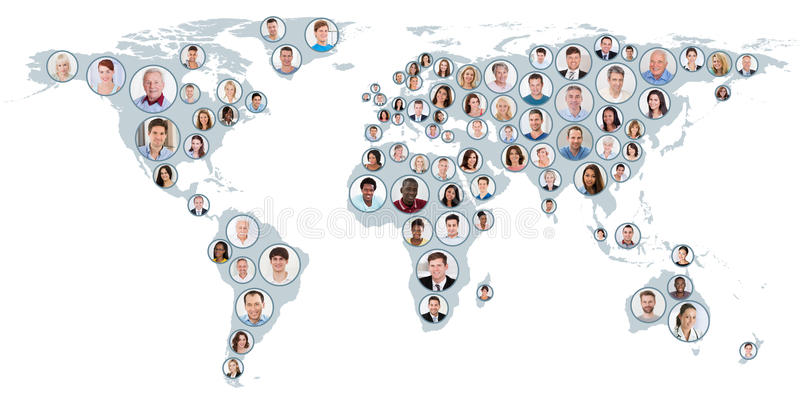 Κολάζ των ανθρώπων στον παγκόσμιο χάρτη ελεύθερη απεικόνιση δικαιώματος