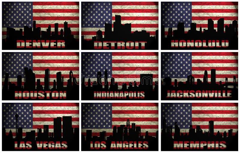 Κολάζ των διάσημων ΑΜΕΡΙΚΑΝΙΚΩΝ πόλεων από το Δ στο Μ διανυσματική απεικόνιση