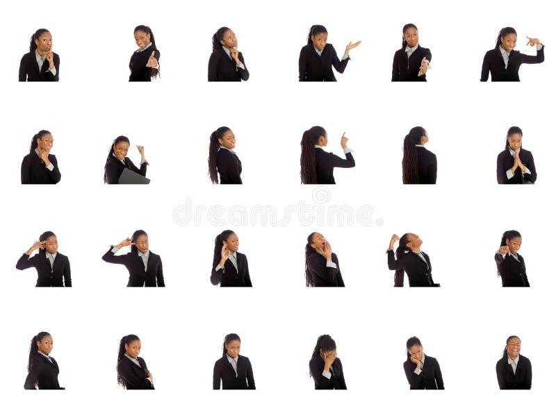 Κολάζ των διαφορετικών εκφράσεων του προσώπου στοκ φωτογραφίες