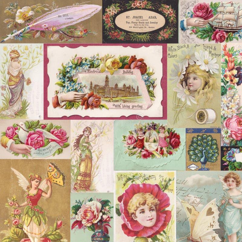 Κολάζ των παλαιών βικτοριανών καρτών εμπορικών συναλλαγών με τα λουλούδια και τις νεράιδες ελεύθερη απεικόνιση δικαιώματος