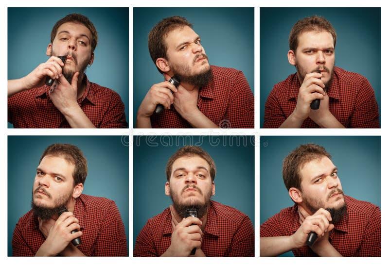 Κολάζ των πορτρέτων: Άτομο που ξυρίζει τη γενειάδα του με trimmer στοκ φωτογραφία