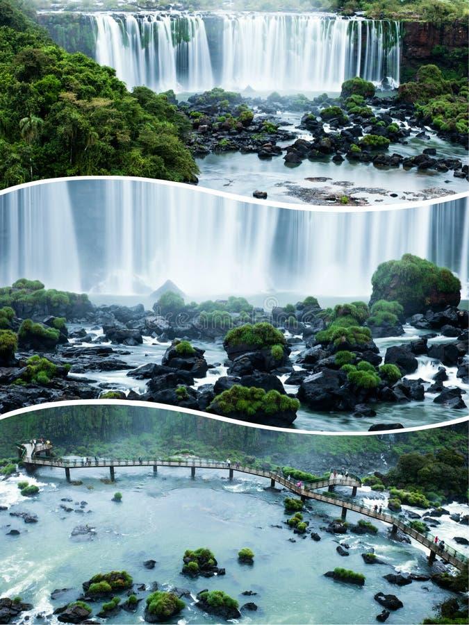 Κολάζ των πτώσεων Iguazu στις εικόνες της Βραζιλίας και της Αργεντινής - ταξίδι στοκ εικόνες