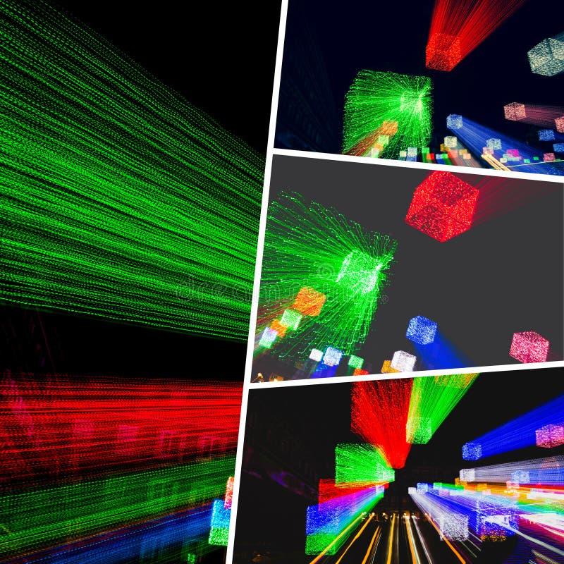 Κολάζ των συγκεχυμένων εικόνων φωτισμού στοκ εικόνα
