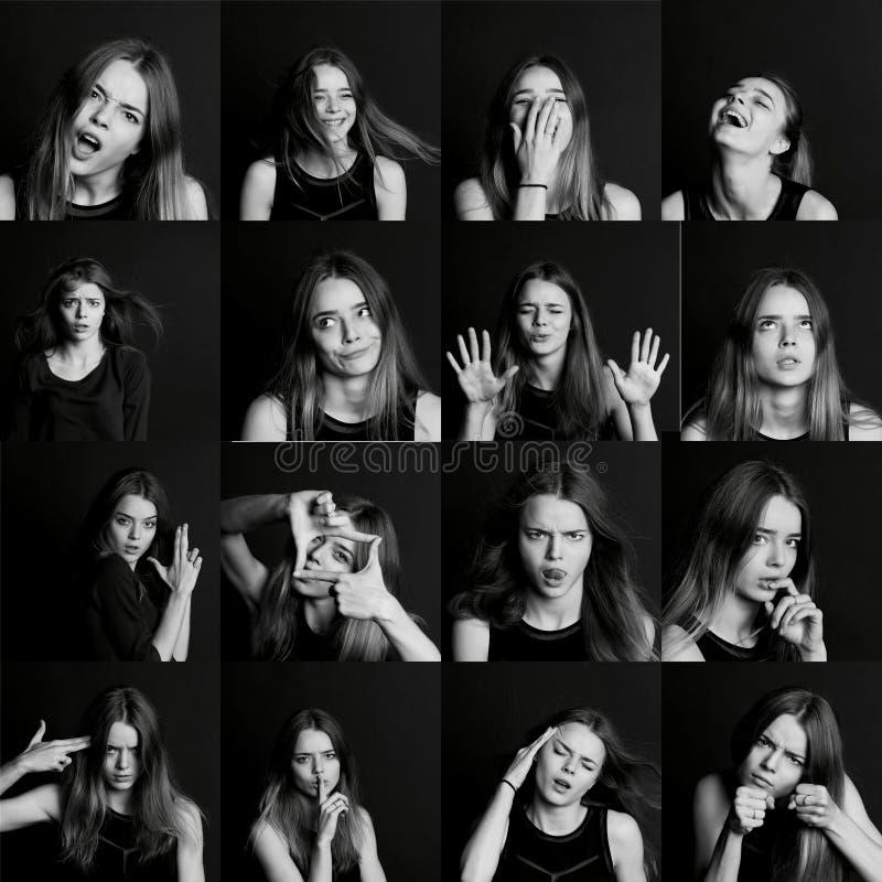 Κολάζ των συγκινήσεων Η τοποθέτηση το πρότυπο όμορφο τρίχωμα κοριτσιών μακρύ μαύρο λευκό στοκ εικόνες με δικαίωμα ελεύθερης χρήσης