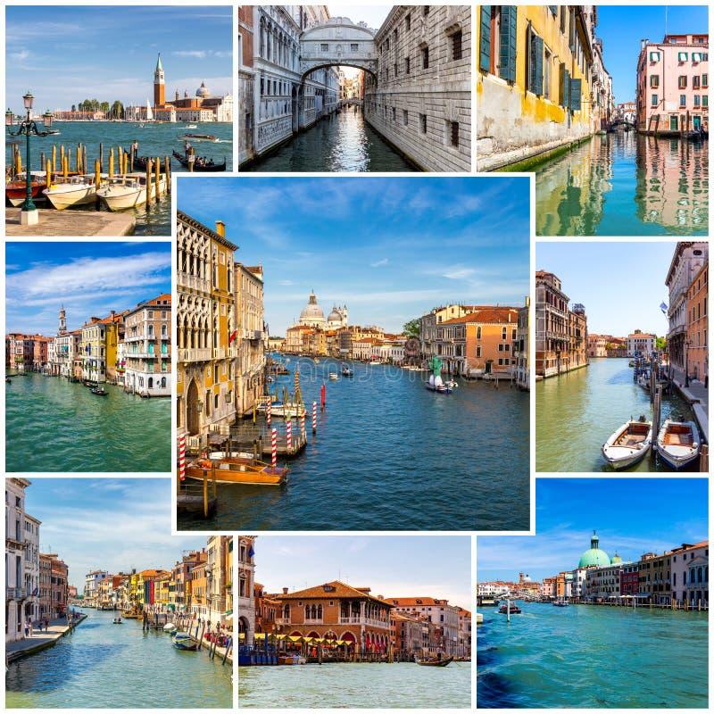 Κολάζ των φωτογραφιών της Βενετίας στην Ιταλία στοκ εικόνα με δικαίωμα ελεύθερης χρήσης