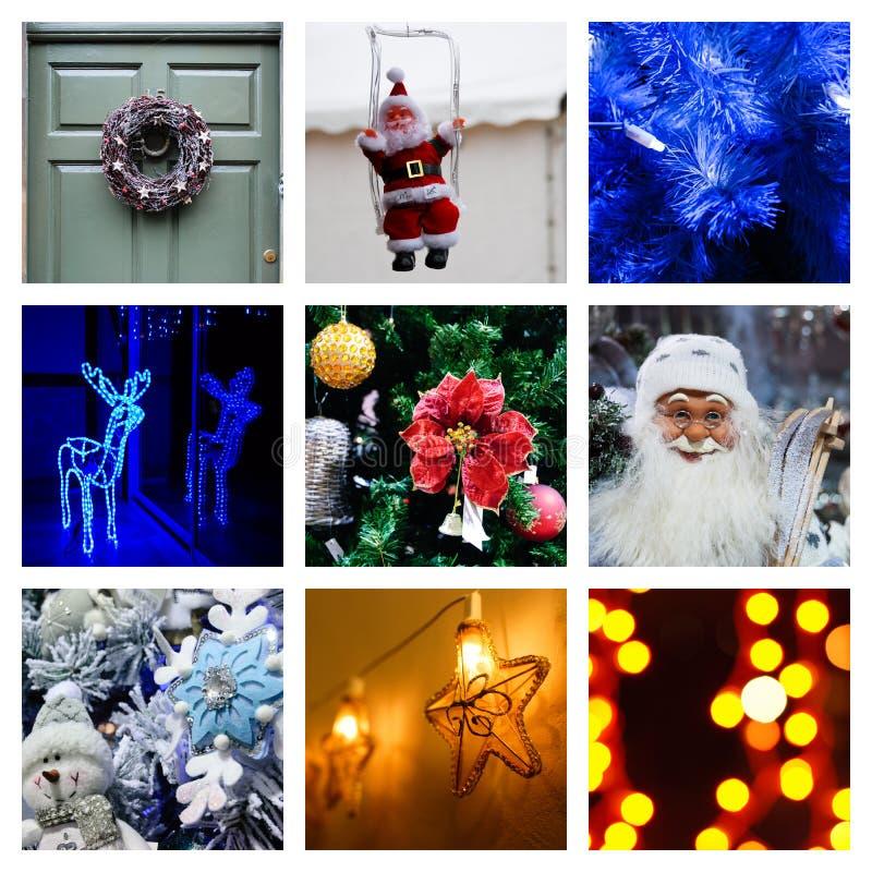 Κολάζ Χριστουγέννων και Παραμονής Πρωτοχρονιάς στοκ εικόνα με δικαίωμα ελεύθερης χρήσης