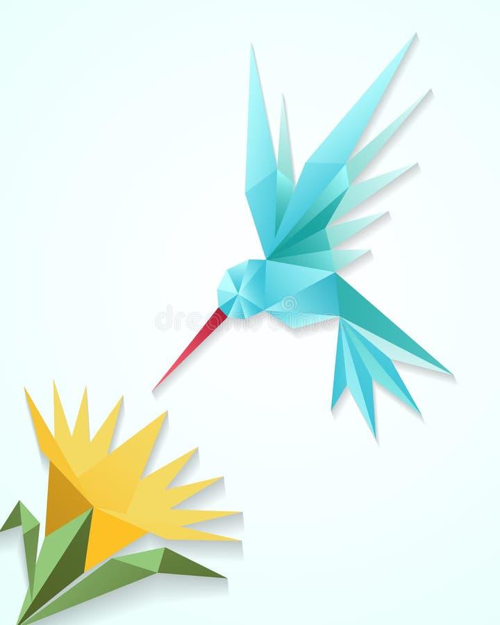 Κολίβριο Origami με το λουλούδι Διανυσματική απεικόνιση πουλιών εγγράφου τρισδιάστατη βουίζοντας διανυσματική απεικόνιση