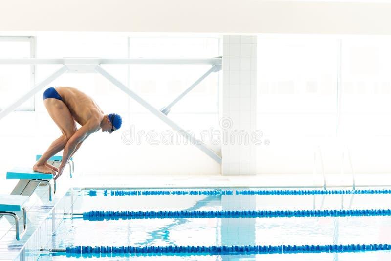 Κολυμβητής που πηδά από τον αρχικό φραγμό ι στοκ εικόνα με δικαίωμα ελεύθερης χρήσης