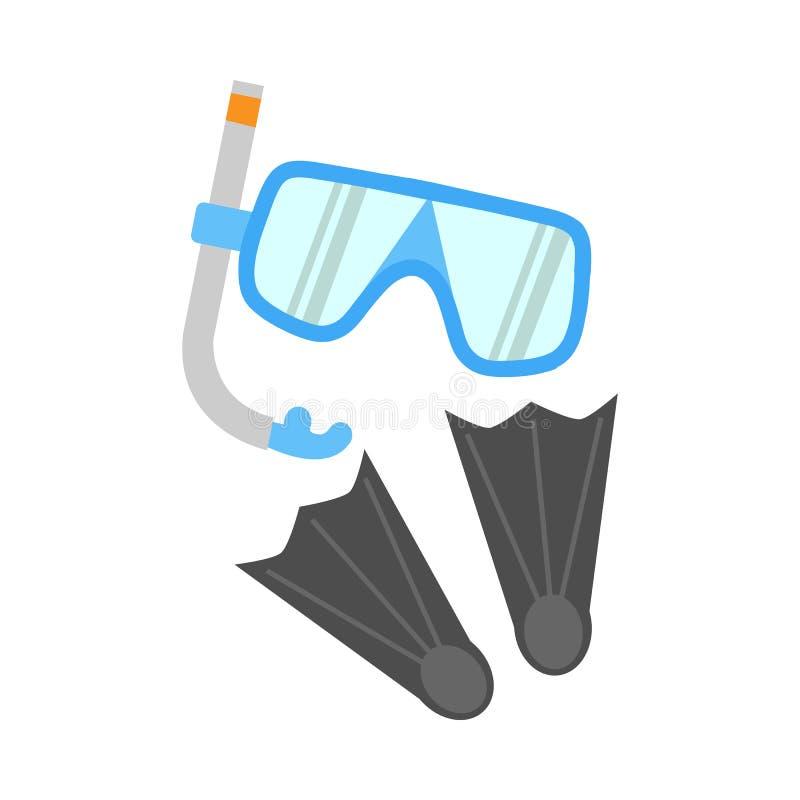 Κολυμπήστε με αναπνευτήρα, βατραχοπέδιλα και μάσκα που απομονώνονται στο λευκό απεικόνιση αποθεμάτων