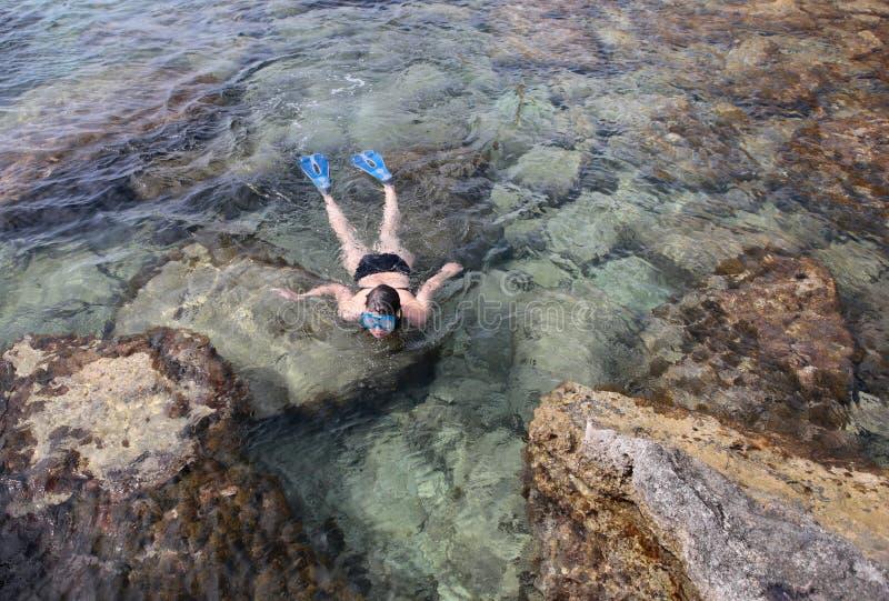 Κολυμπήστε με αναπνευτήρα στην παραλία στοκ εικόνες με δικαίωμα ελεύθερης χρήσης