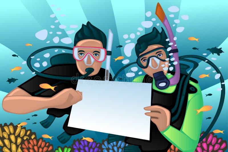 Κολυμπώντας με αναπνευτήρα αφίσα διανυσματική απεικόνιση