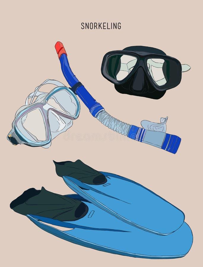 Κολυμπώντας με αναπνευτήρα εξοπλισμός, πτερύγιο, μάσκα κατάδυσης με το σωλήνα, σκίτσο vect απεικόνιση αποθεμάτων
