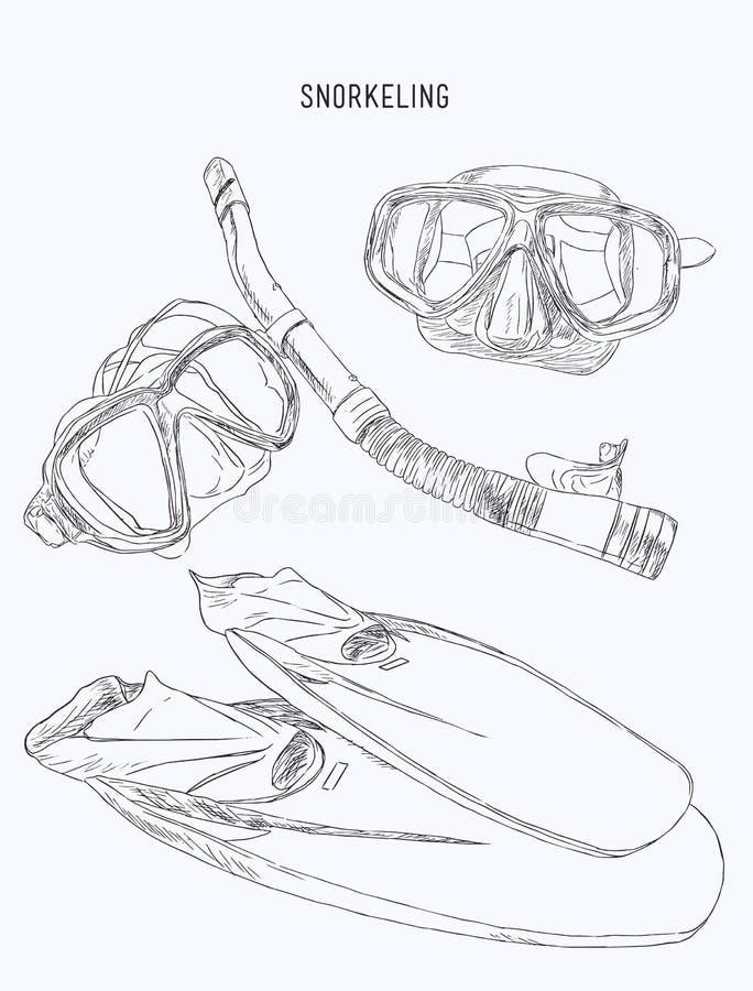 Κολυμπώντας με αναπνευτήρα εξοπλισμός, πτερύγιο, μάσκα κατάδυσης με το σωλήνα, σκίτσο vect διανυσματική απεικόνιση