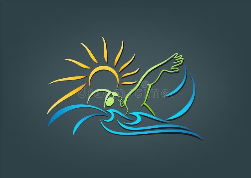 κολύμβηση διανυσματική απεικόνιση