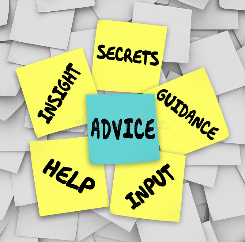Κολλώδεις σημειώσεις καθοδήγησης βοήθειας διορατικότητας μυστικών συμβουλών ελεύθερη απεικόνιση δικαιώματος