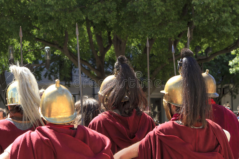 κράνη των ρωμαϊκών στρατιωτών στοκ φωτογραφία με δικαίωμα ελεύθερης χρήσης