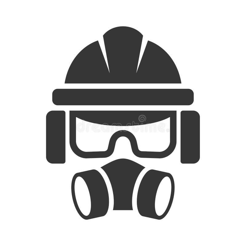 Κράνος ασφάλειας οικοδόμων, γυαλιά προστασίας, αναπνευστική συσκευή και εικονίδιο κασκών διάνυσμα διανυσματική απεικόνιση