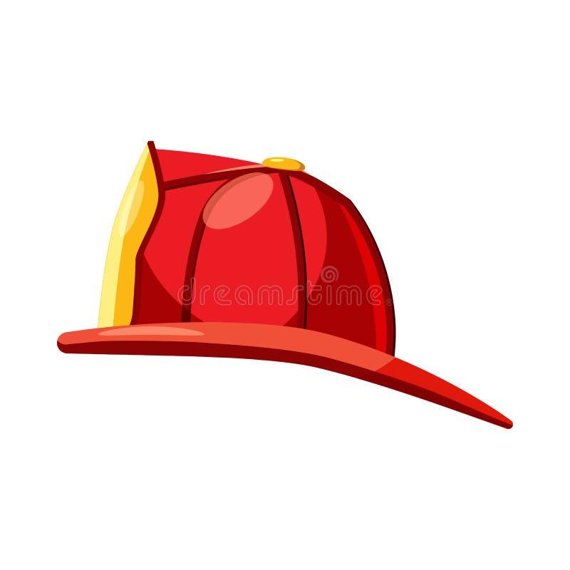 Κράνος για ένα εικονίδιο πυροσβεστών, ύφος κινούμενων σχεδίων διανυσματική απεικόνιση