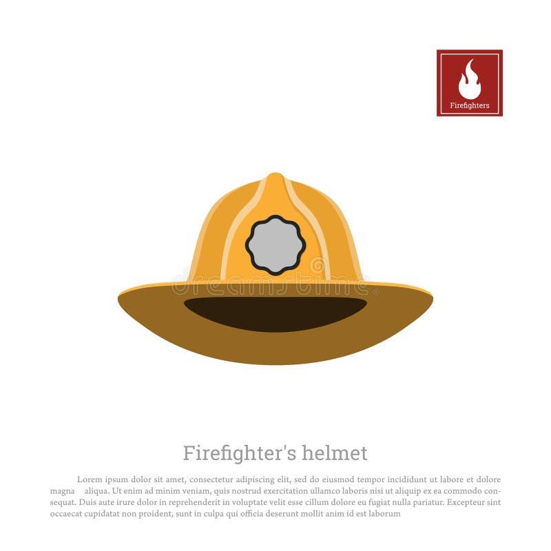 Κράνος ενός πυροσβέστη σε ένα άσπρο υπόβαθρο Καπέλα πυροσβεστών ` s εικονιδίων στο επίπεδο ύφος ελεύθερη απεικόνιση δικαιώματος