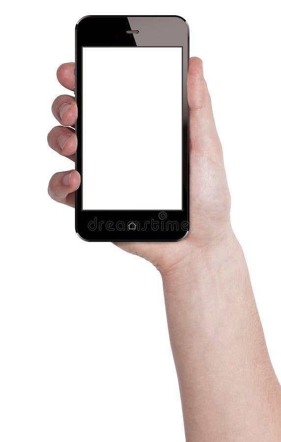 Κράτημα του κινητού έξυπνου τηλεφώνου στο αρσενικό χέρι ελεύθερη απεικόνιση δικαιώματος
