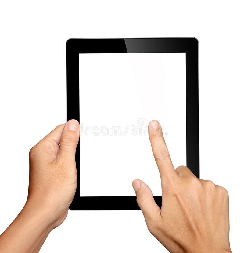 Κράτημα χεριών και σχετικά με στο PC ταμπλετών στοκ φωτογραφία με δικαίωμα ελεύθερης χρήσης