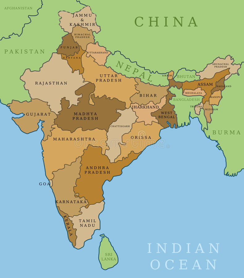 Κράτη της Ινδίας ελεύθερη απεικόνιση δικαιώματος