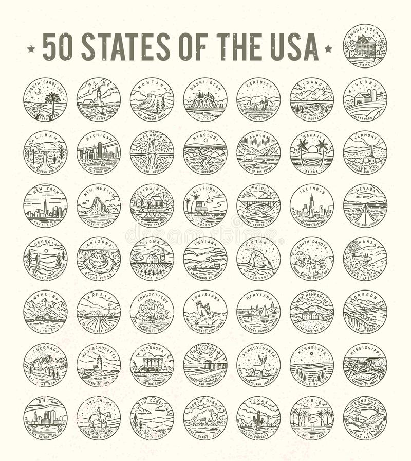 50 κράτη των ΗΠΑ διανυσματική απεικόνιση