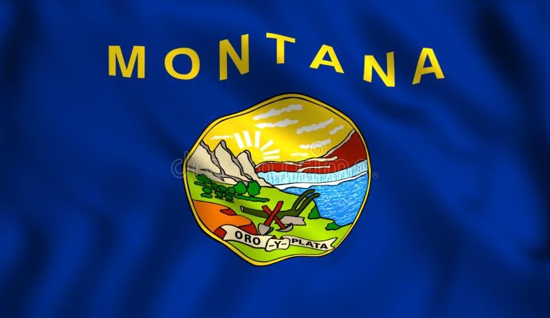 Κράτος της Μοντάνα σημαιών που κυματίζει στον αέρα ελεύθερη απεικόνιση δικαιώματος