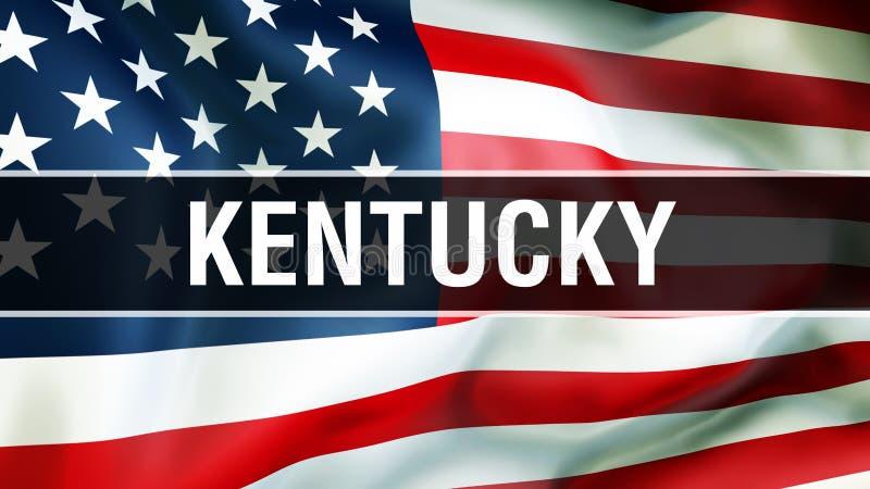 Κράτος του Κεντάκυ σε ένα υπόβαθρο ΑΜΕΡΙΚΑΝΙΚΩΝ σημαιών, τρισδιάστατη απόδοση Σημαία των Ηνωμένων Πολιτειών της Αμερικής που κυμα ελεύθερη απεικόνιση δικαιώματος