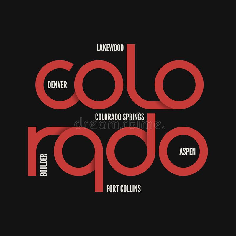 Κράτος του Κολοράντο Διανυσματικό σχέδιο μπλουζών και ενδυμασίας, τυπωμένη ύλη, typogr απεικόνιση αποθεμάτων