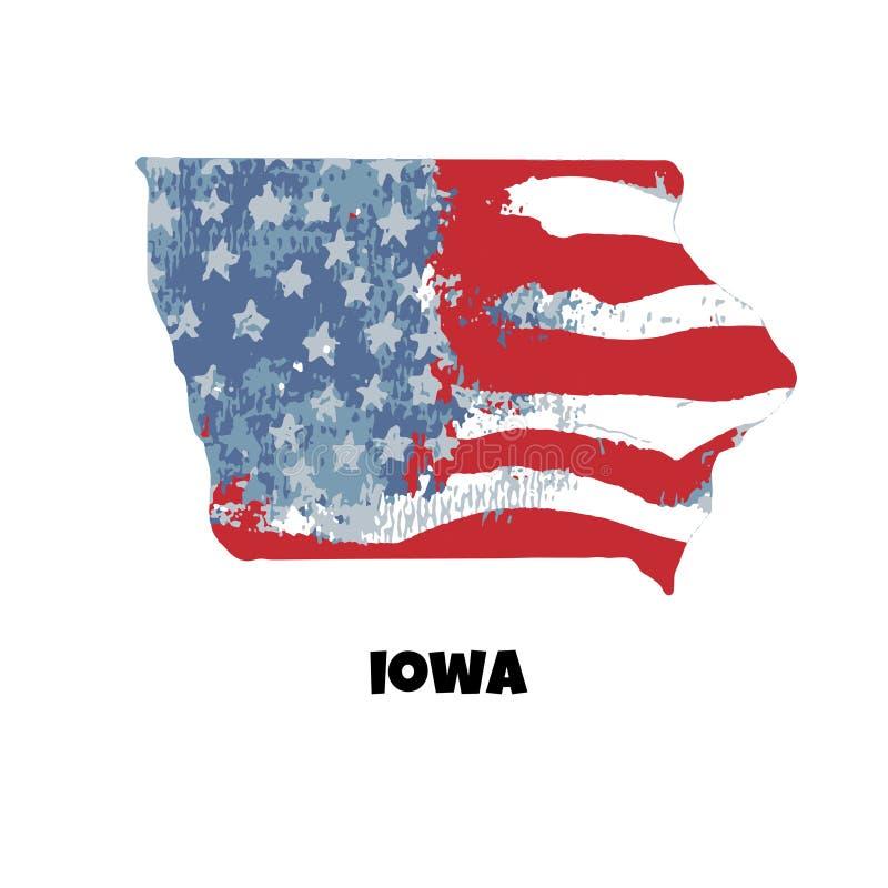 κράτος του Iowa η Αμερική δηλώνει ενωμένο επίσης corel σύρετε το διάνυσμα απεικόνισης WA διανυσματική απεικόνιση