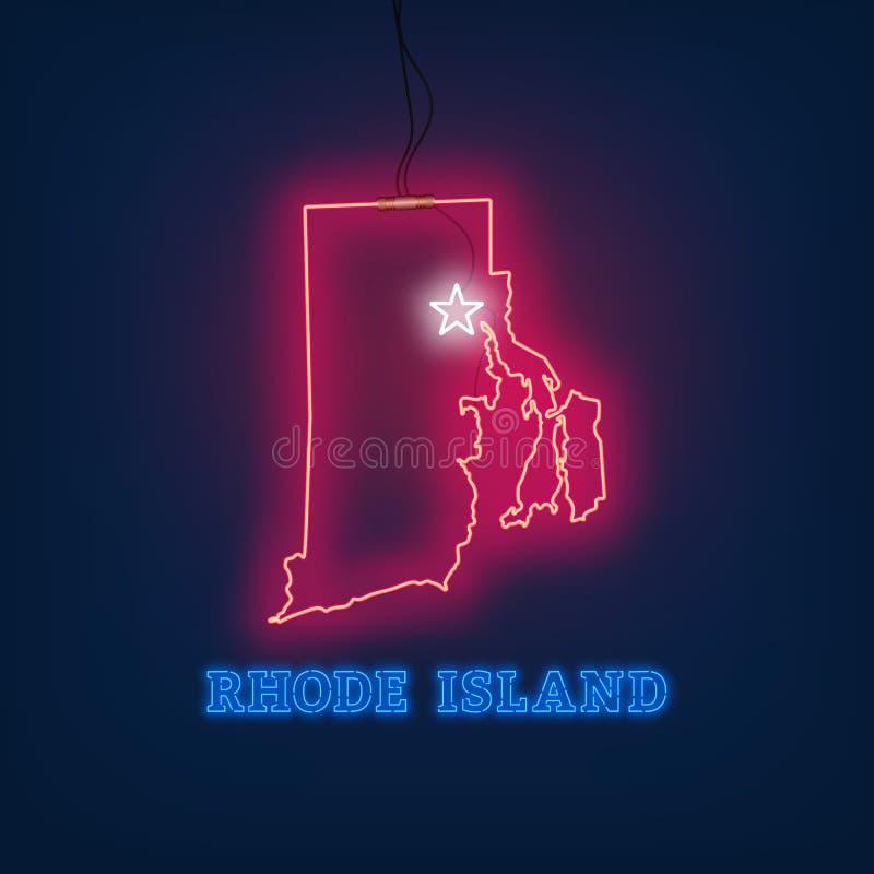 Κράτος χαρτών νέου του Ρόουντ Άιλαντ στο σκοτεινό υπόβαθρο ελεύθερη απεικόνιση δικαιώματος