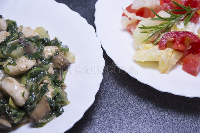 Κρέας κοτόπουλου με τη φυτική σαλάτα στοκ εικόνα με δικαίωμα ελεύθερης χρήσης