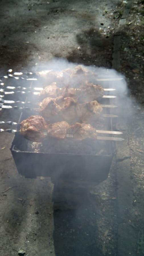 Κρέας κοτόπουλου που τηγανίζεται σε μια πυρκαγιά στοκ φωτογραφίες