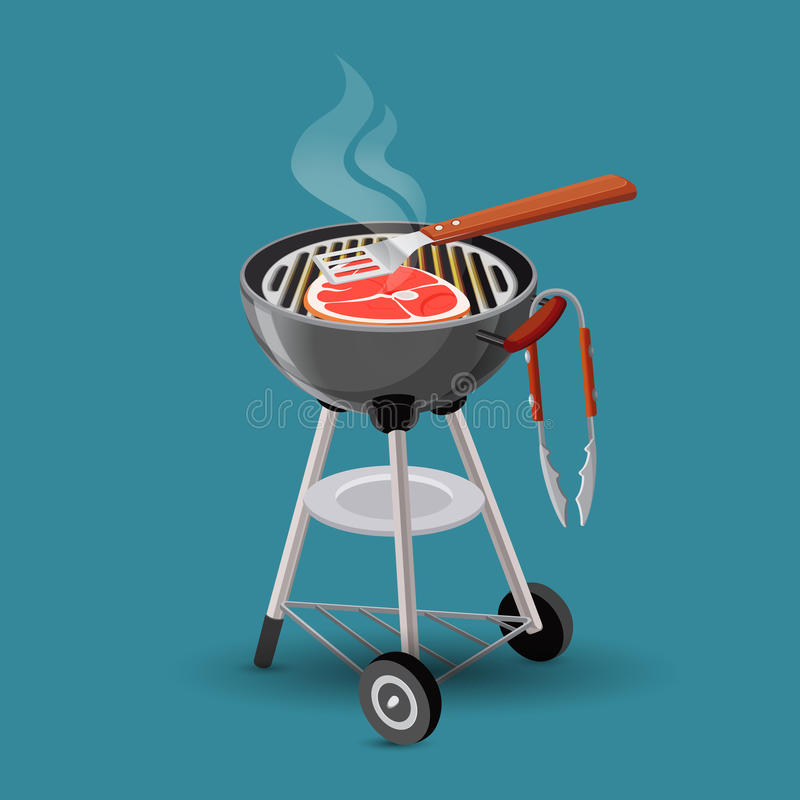 Κρέας που τηγανίζεται στο εικονίδιο σχαρών σχαρών στο ύφος κινούμενων σχεδίων που απομονώνεται ελεύθερη απεικόνιση δικαιώματος