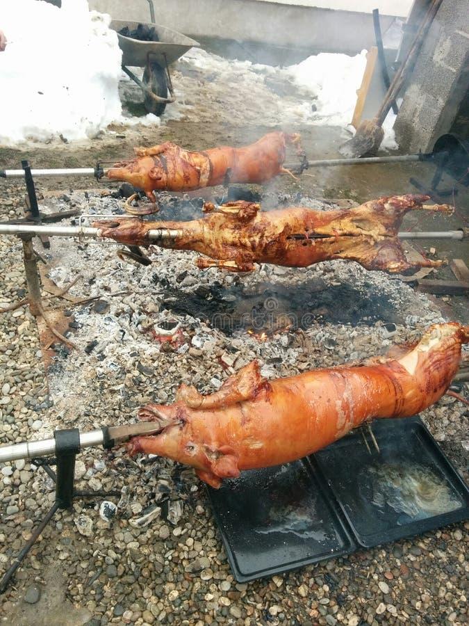 κρέας που ψήνεται στοκ εικόνα με δικαίωμα ελεύθερης χρήσης