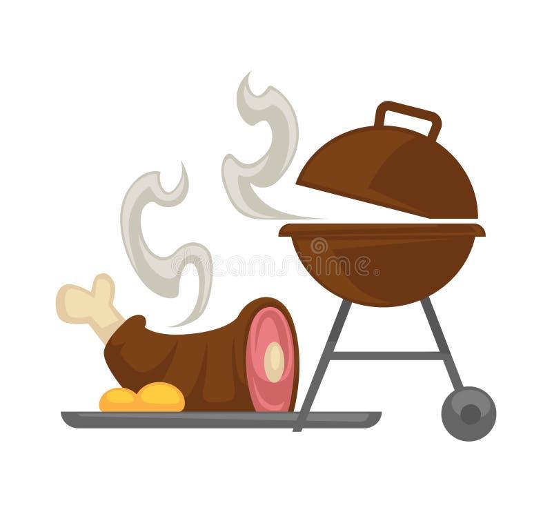 Κρέας σχαρών σχαρών που μαγειρεύει το διανυσματικό εικονίδιο απεικόνιση αποθεμάτων