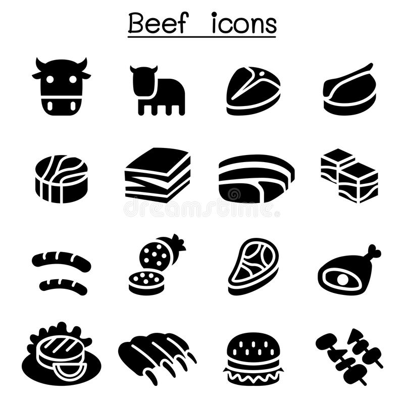 Κρέας, σύνολο εικονιδίων βόειου κρέατος ελεύθερη απεικόνιση δικαιώματος